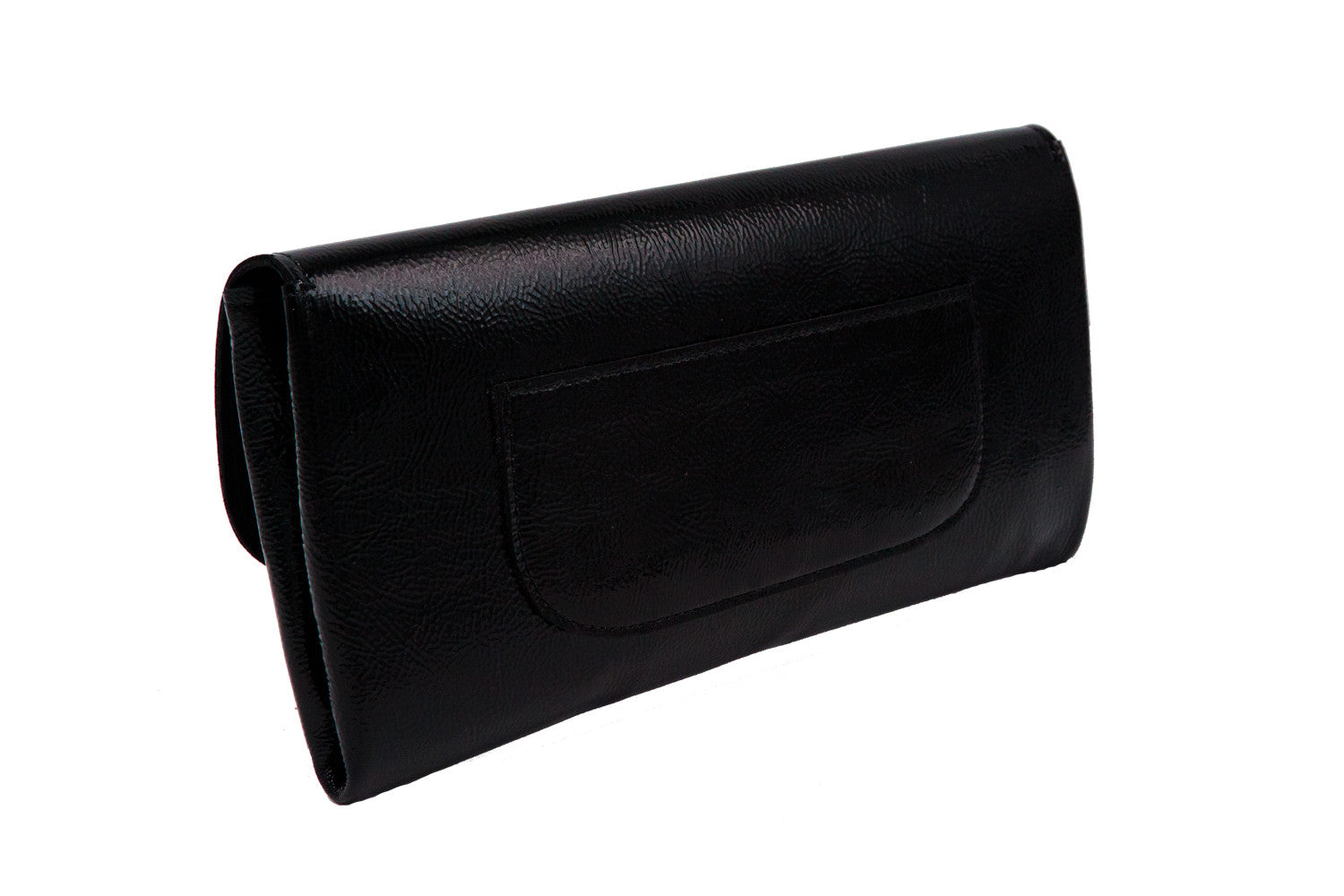 Elle Clutch Cracked Black Patent Leather w/ 2 White Bolt