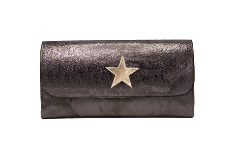 Elle Clutch Cracked Bronze Patent Leather w/ Gold Star