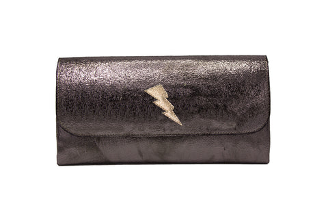 Elle Clutch Cracked Bronze Patent Leather w/ Gold Bolt