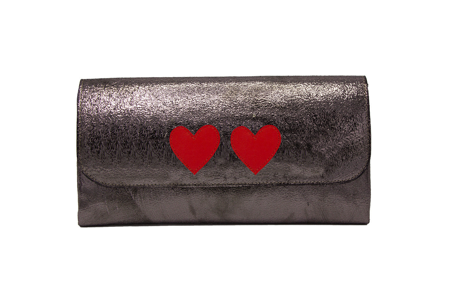 Elle Clutch Cracked Bronze Patent Leather w/ 2 Red Heart