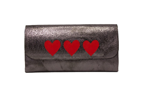 Elle Clutch Cracked Bronze Patent Leather w/ 3 Red Heart