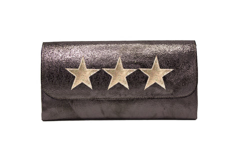 Mich Shoulder Bag Cracked Black Patent Leather w/ White Star