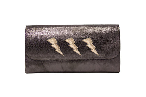 Mich Shoulder Bag Cracked Black Patent Leather w/ 3 Bronze Lightning Bolts