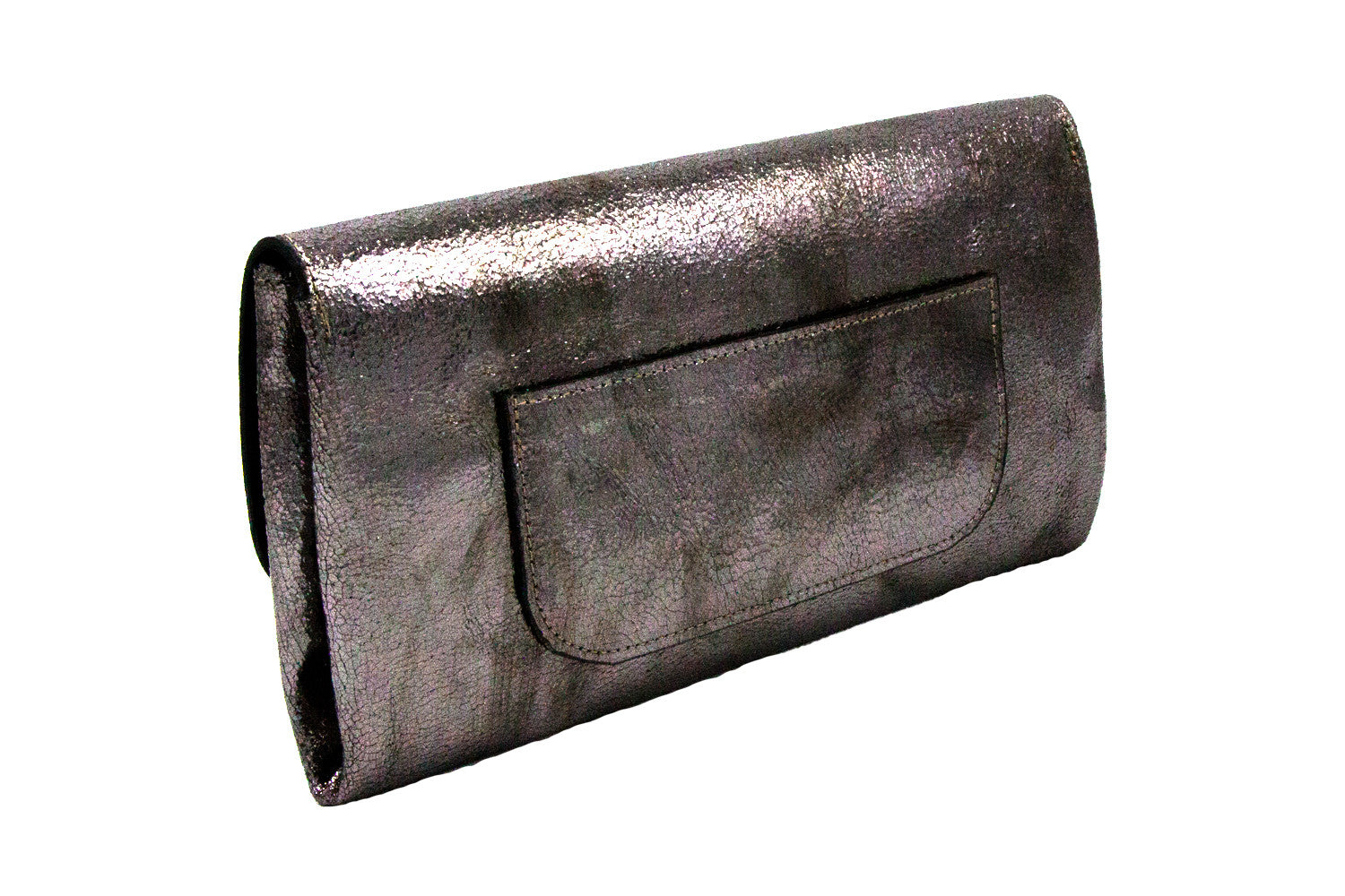 Elle Clutch Cracked Bronze Patent Leather w/ 2 Gold Star
