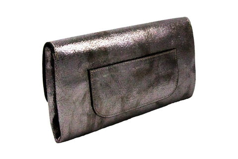 Elle Clutch Cracked Bronze Patent Leather w/ 2 Gold Bolt