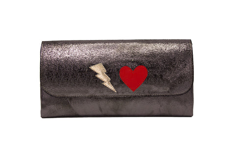 Elle Clutch Cracked Black Patent Leather w/ White Bolt