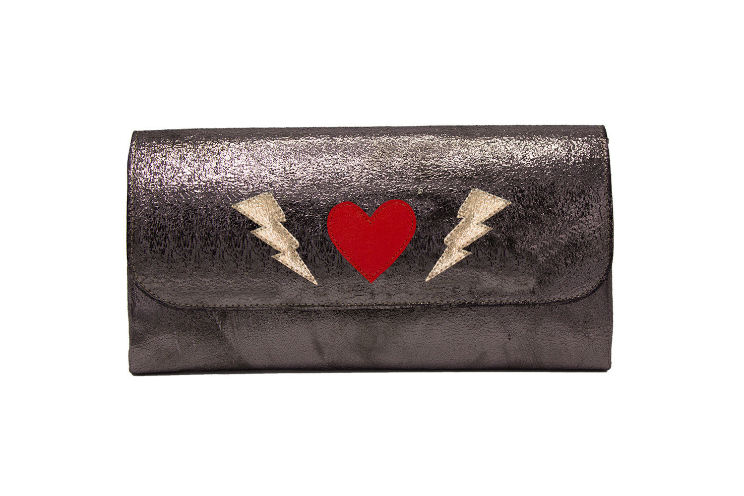 Elle Clutch Cracked Bronze Patent Leather w/ Gold Bolt, Red Heart and Gold Bolt