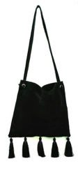 Margot Crossbody Black Suede with Black Tassels