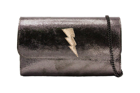 Mich Shoulder Bag Cracked Metallic Bronze w/ Gold Lightning Bolt