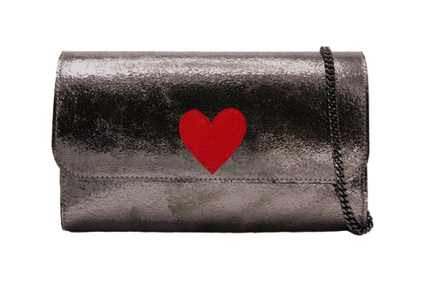 Mich Shoulder Bag Cracked Metallic Bronze w/ Red Heart