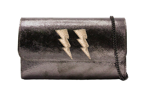 Mich Shoulder Bag Cracked Metallic Bronze w/ 2 Gold Lightning Bolts