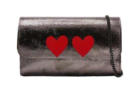 Mich Shoulder Bag Cracked Metallic Bronze w/ 2 Red Heart