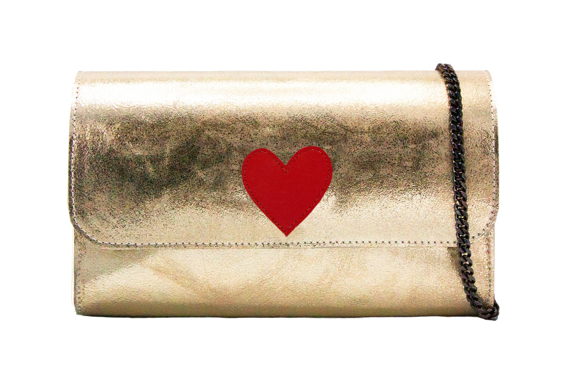 Mich Shoulder Bag Cracked Metallic Gold w/ Red Heart