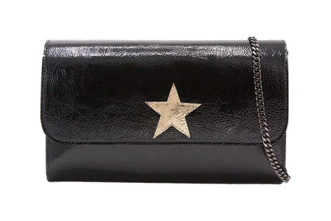 Mich Shoulder Bag Cracked Black Patent Leather w/ Gold Star