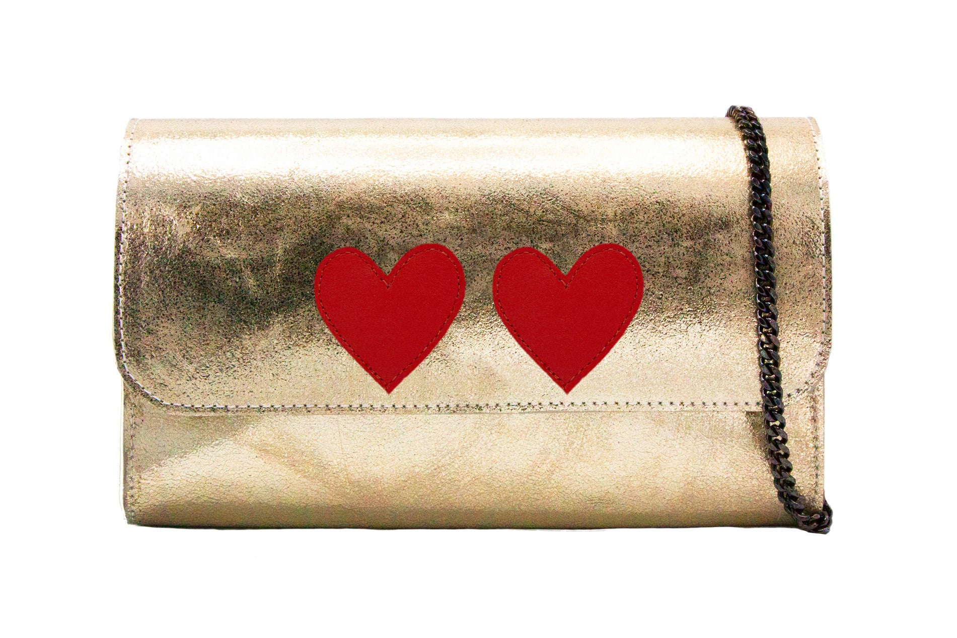 Mich Shoulder Bag Cracked Cracked Metallic Gold w/ 2 Red Hearts