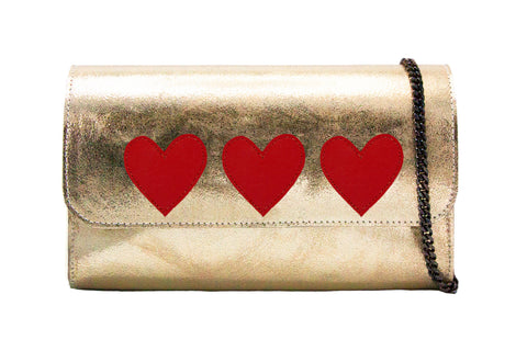Mich Shoulder Bag Cracked Cracked Metallic Gold w/ 3 Red Hearts