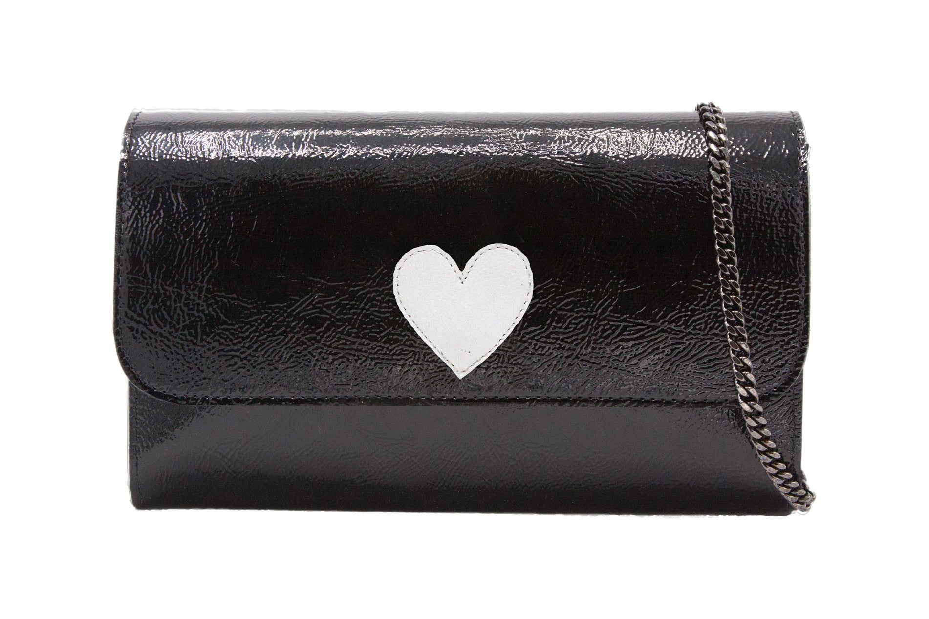 Mich Shoulder Bag Cracked Black Patent Leather w/ White Heart