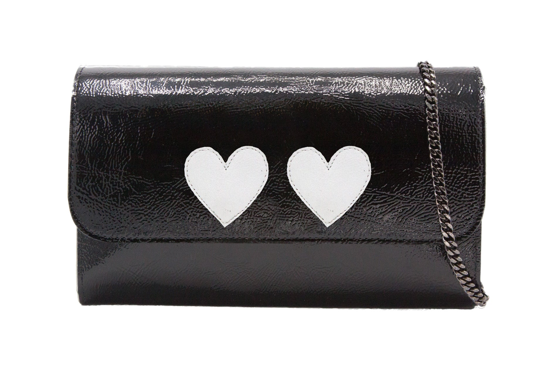 Mich Shoulder Bag Cracked Black Patent Leather w/ 2 White Heart