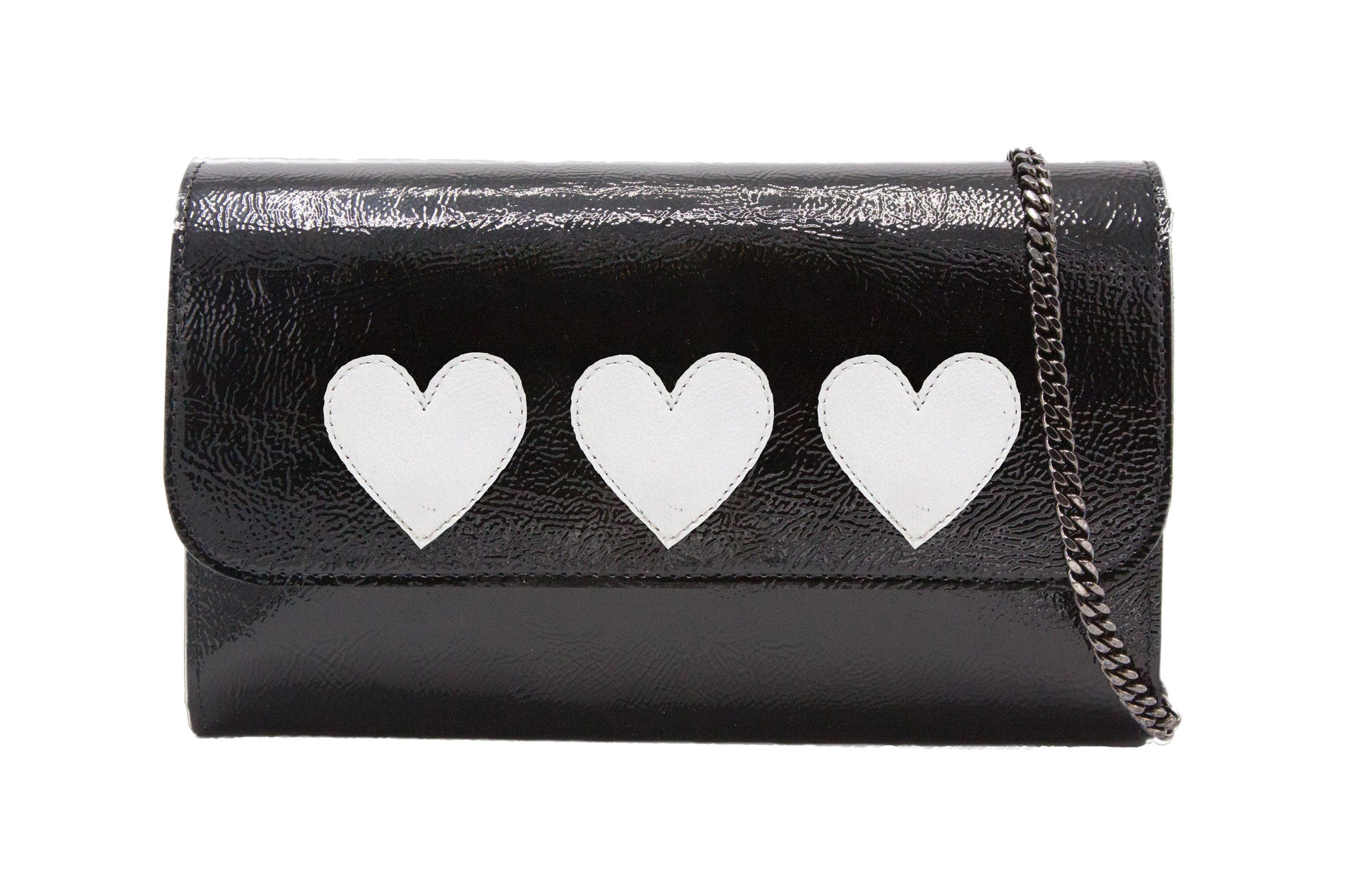 Mich Shoulder Bag Cracked Black Patent Leather w/ 3 White Heart