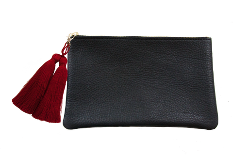 Sophie Pouch Black Leather w/ Red Silk Tassel Zipper