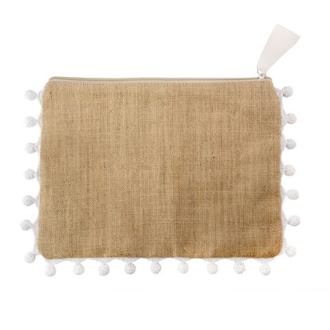 Burlap Whipstitch Clutch with Black