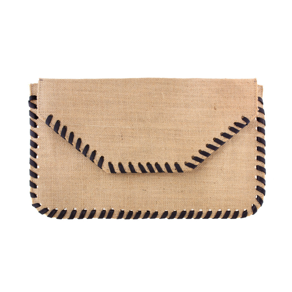 Burlap Whipstitch Clutch with Black - erindananewyork - 1