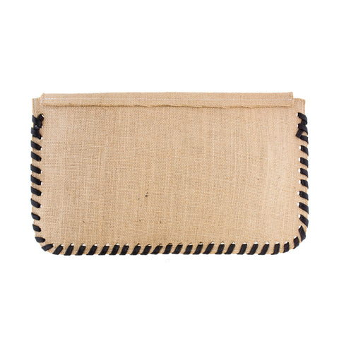 Burlap Whipstitch Clutch with Black - erindananewyork - 2