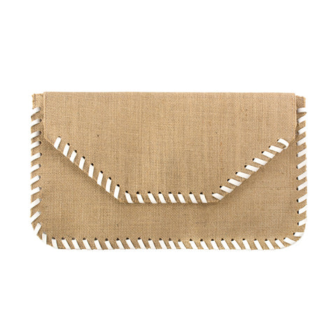 Burlap Whipstitch Clutch with White - erindananewyork - 1