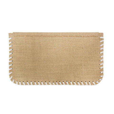 Burlap Whipstitch Clutch with White - erindananewyork - 2