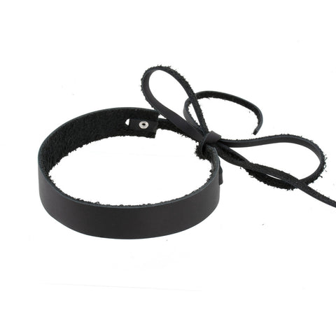 Bowtie Choker Black Leather - erindananewyork - 2
