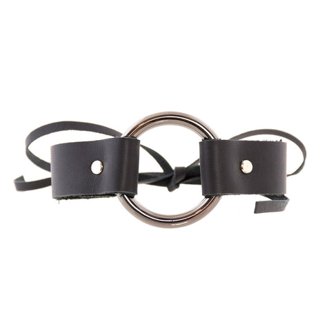 Bowtie Ring Choker Black Leather - erindananewyork - 1