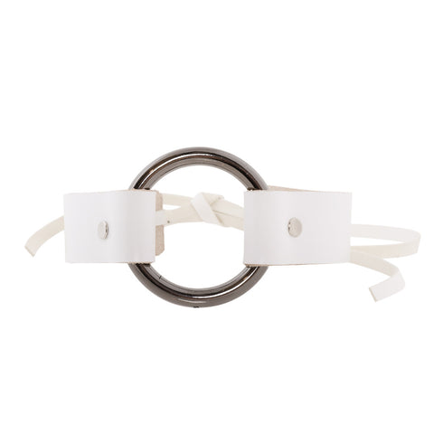 Bowtie Ring Choker White Leather - erindananewyork