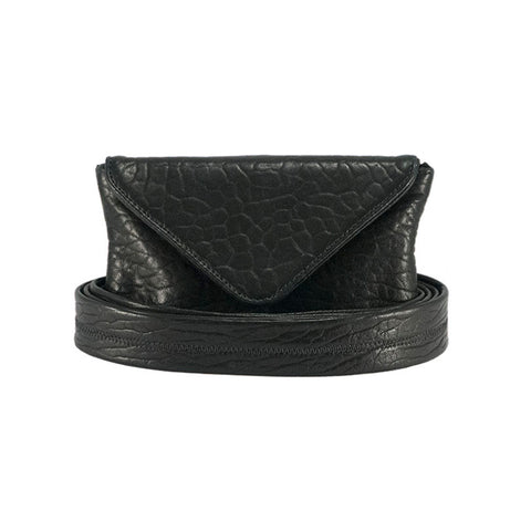Double Wrap Belt Bag Black Shrunken Lambskin - erindananewyork - 1