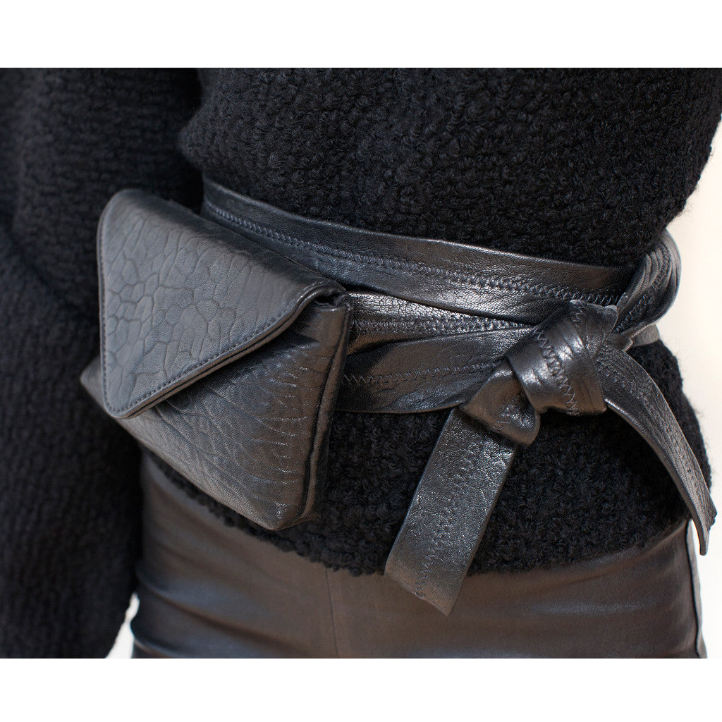 Double Wrap Belt Bag Black Shrunken Lambskin - erindananewyork - 3