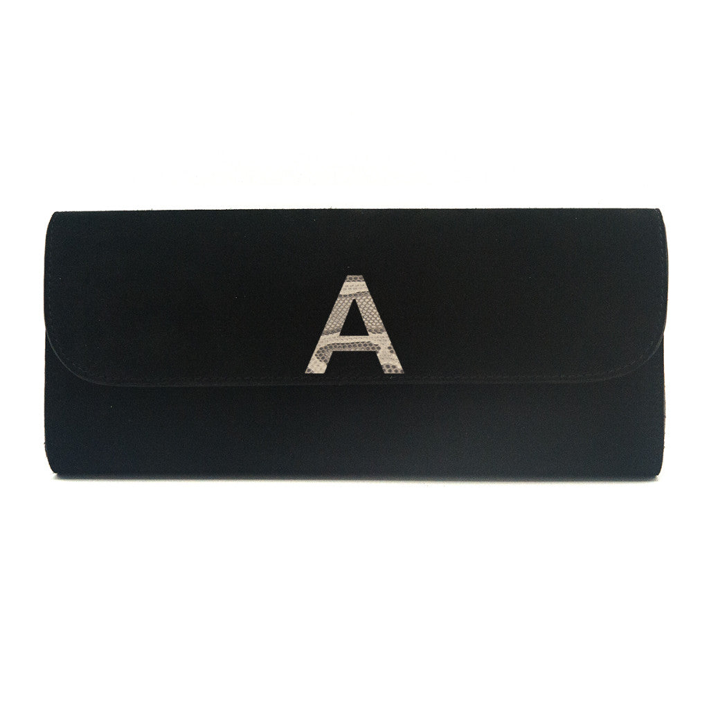 Kelley Alphabet Clutch - Black Suede - erindananewyork - 1