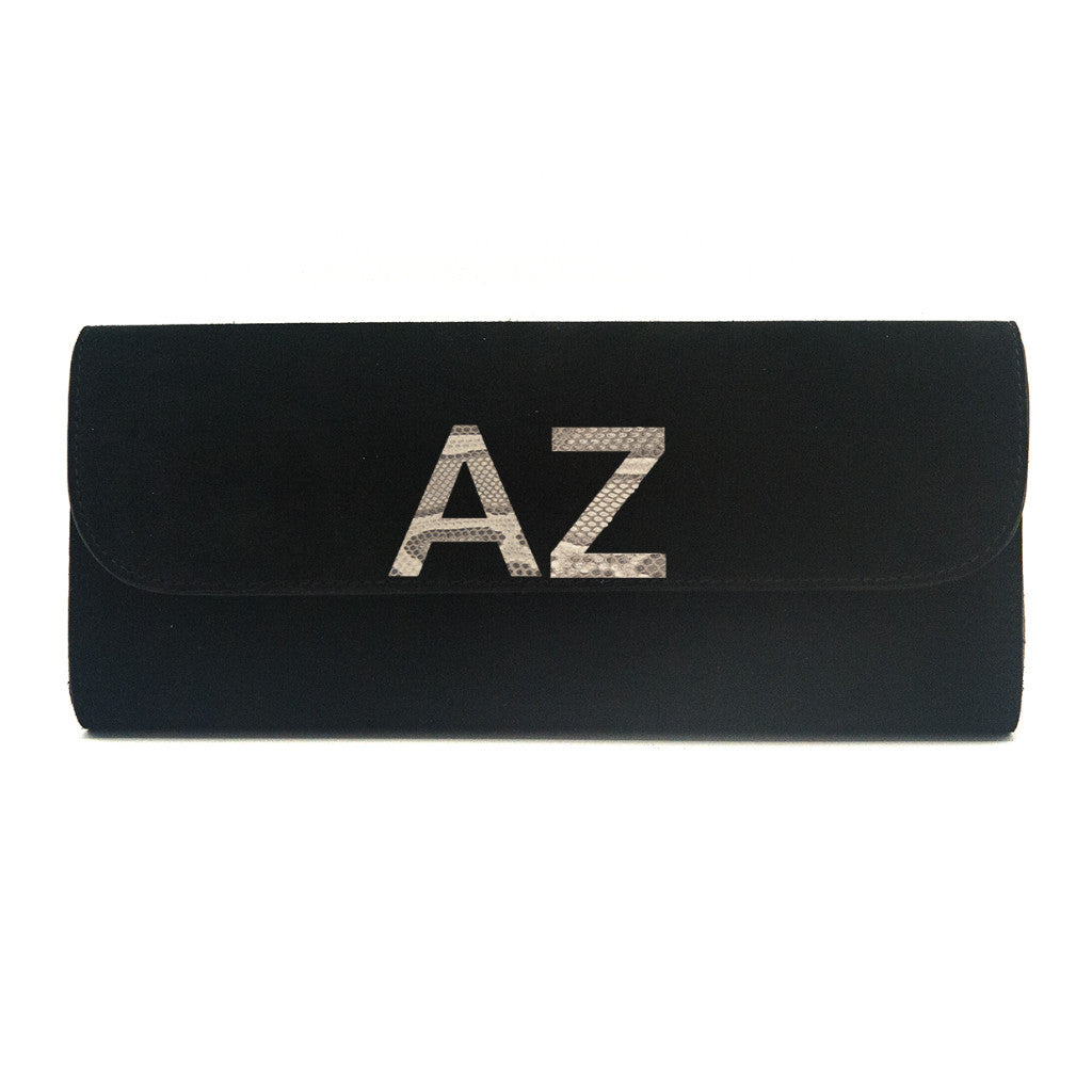 Kelley Alphabet Clutch - Black Suede - erindananewyork - 3