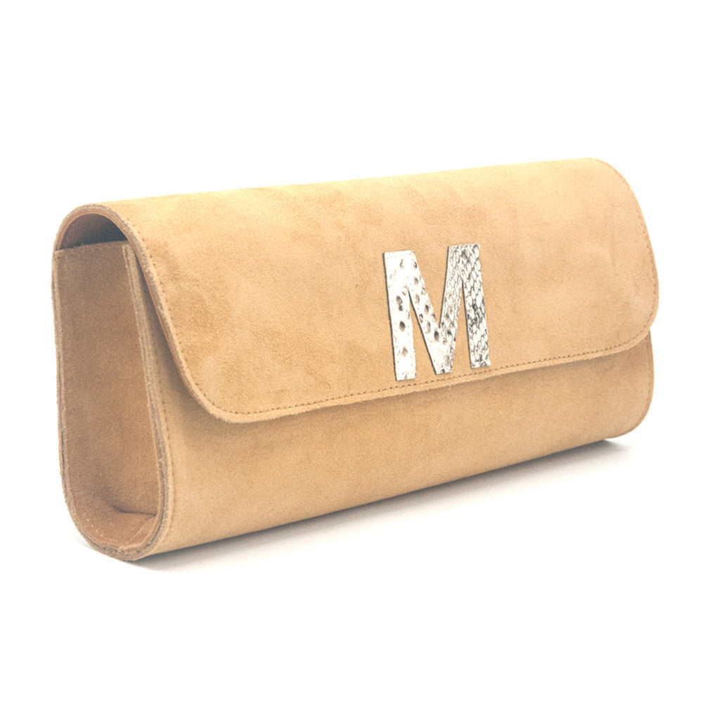 Kelley Alphabet Clutch - Tan Suede - erindananewyork - 2
