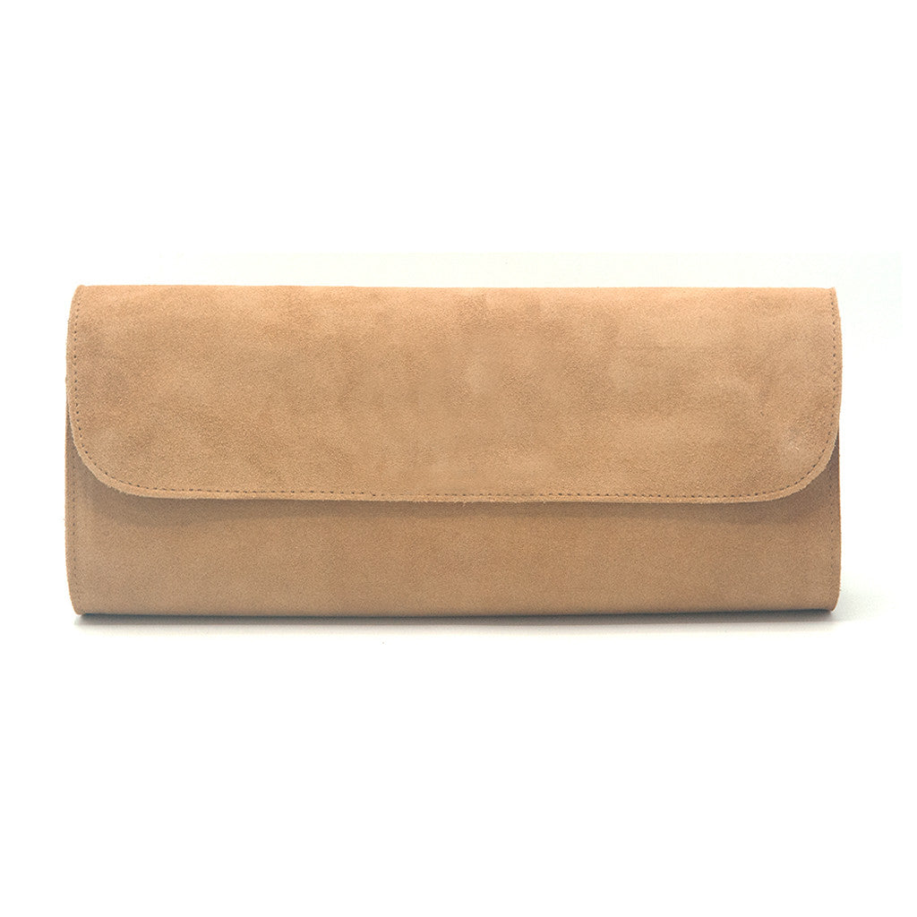 Kelley Alphabet Clutch - Tan Suede - erindananewyork - 3