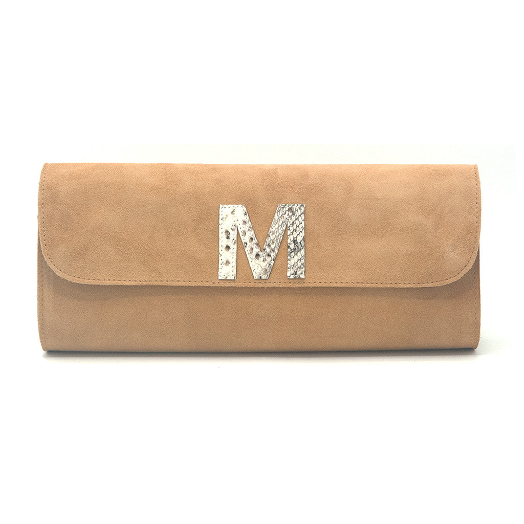 Kelley Alphabet Clutch - Tan Suede - erindananewyork - 1