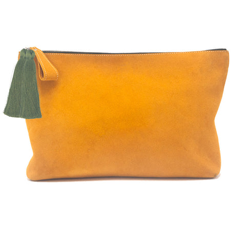 Oversized Alex Pouch Mustard Suede with OIive Tassels - erindananewyork