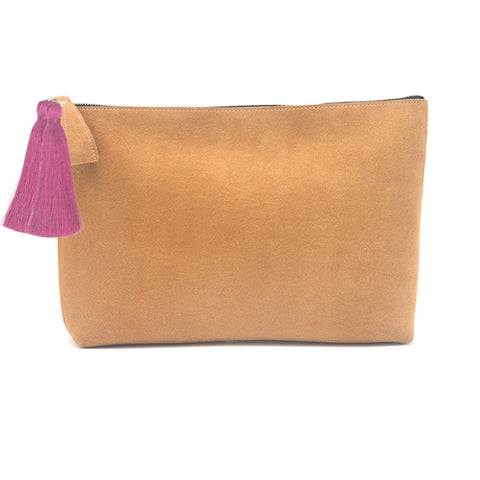 Oversized Alex Pouch Tan Suede with Hot Pink Tassels - erindananewyork