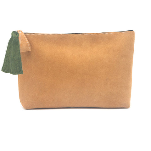 Oversized Alex Pouch Tan Suede with Olive Tassels - erindananewyork