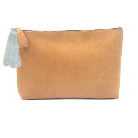Oversized Alex Pouch Tan Suede with Slate Tassels - erindananewyork