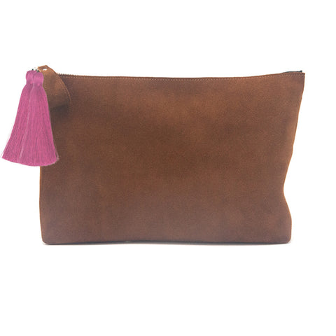 Oversized Alex Pouch Tobacco Suede with Hot Pink Tassels - erindananewyork