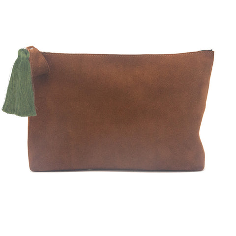 Oversized Alex Pouch Tobacco Suede with Olive Tassels - erindananewyork