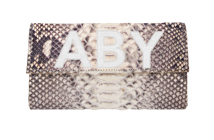 Liz Crossbody Clutch Natural Snakeskin - 3 Letters