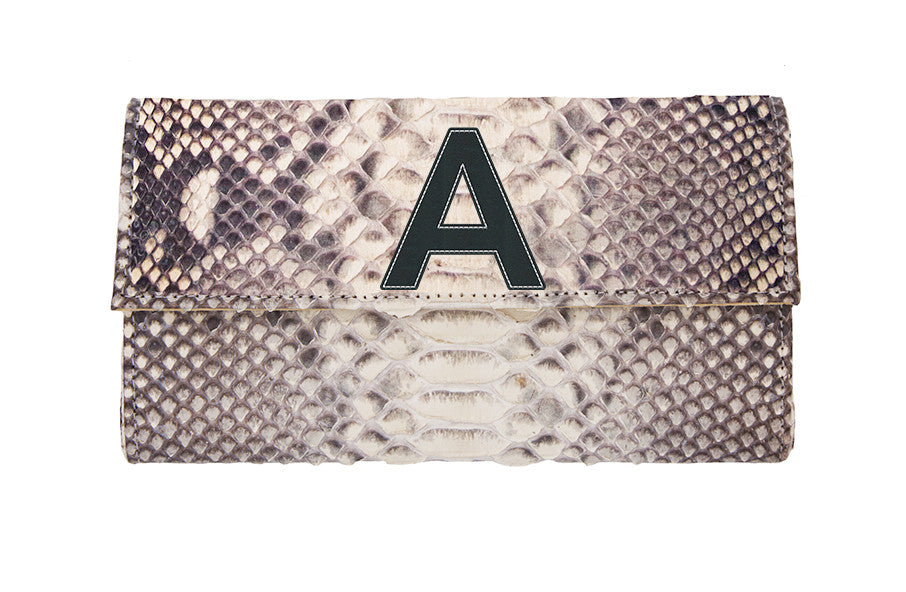 Liz Crossbody Clutch Natural Snakeskin - 1 Letter