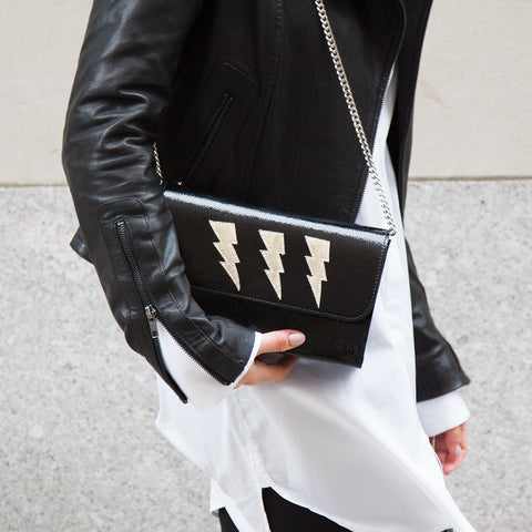 Mich Shoulder Bag Cracked Black Patent Leather w/ 3 Bronze Lightning Bolts - erindananewyork - 2