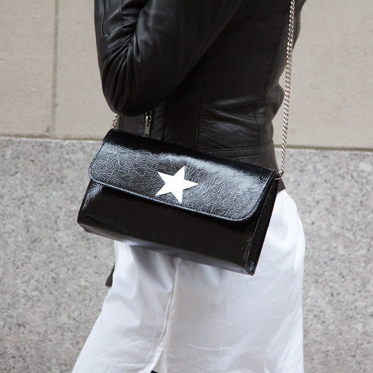 Mich Shoulder Bag Cracked Black Patent Leather w/ Gold Star - erindananewyork - 2