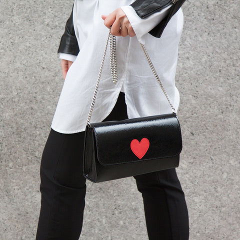 Mich Shoulder Bag Cracked Black Patent Leather w/ Red Heart - erindananewyork - 2